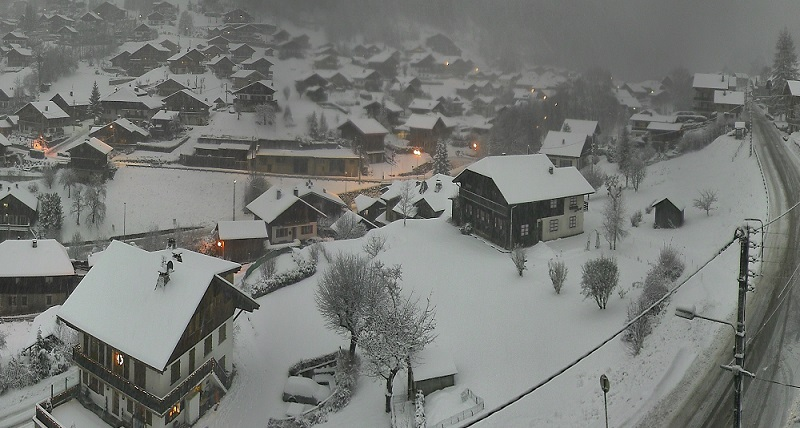 Morzine village with fresh snow