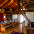 chalet du saut dining with mezzanine over